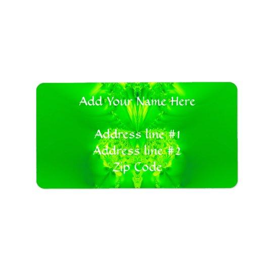 Green Lady Slipper Orchid Fractal Label