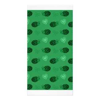 Green ladybugs hearts bows pattern personalized photo card