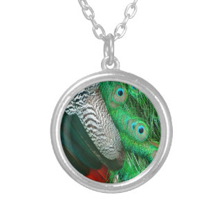 Green Lagoon Feathers Silver Plated Necklace