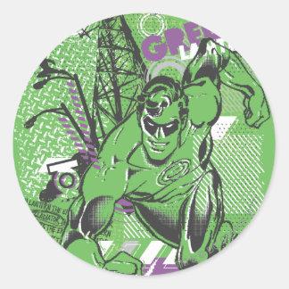 Green Lantern - Absurd Collage Poster Round Sticker