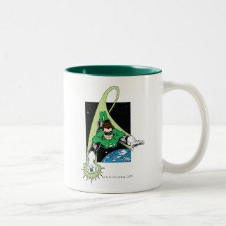 Green Lantern and Earth Two-Tone Coffee Mug