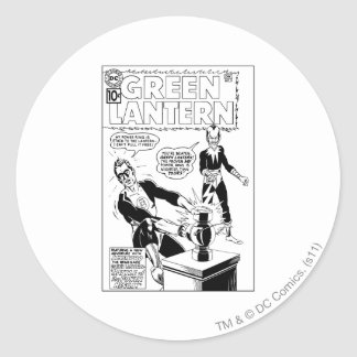 Green Lantern and Sinestro Cover, Black and White Round Sticker