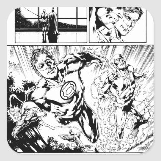Green Lantern and The Flash Panel 2 Square Sticker