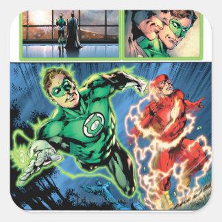 Green Lantern and The Flash Panel Square Sticker