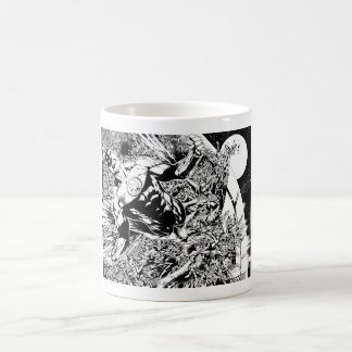 Green Lantern and the Moon - Black and White Classic White Coffee Mug