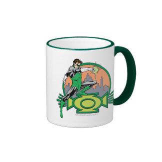 Green Lantern City Background and Logo Ringer Mug