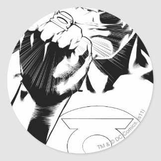 Green Lantern close up cover, Black and White Round Sticker