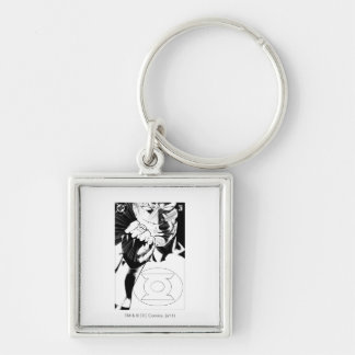 Green Lantern close up cover, Black and White Silver-Colored Square Keychain