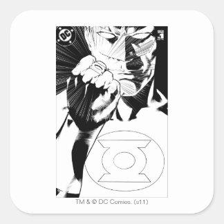 Green Lantern close up cover, Black and White Square Sticker