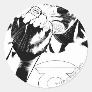 Green Lantern close up cover, Black and White Round Sticker