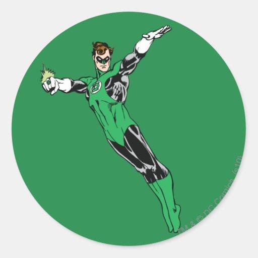 Green Lantern Fly Up Round Sticker