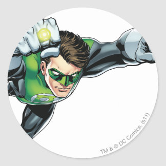 Green Lantern - Fully Rendered,  Flying Right Round Sticker