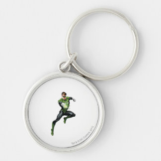Green Lantern - Fully Rendered,  Jumping Silver-Colored Round Keychain