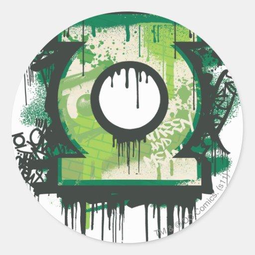 Green Lantern Graffiti Symbol Round Stickers