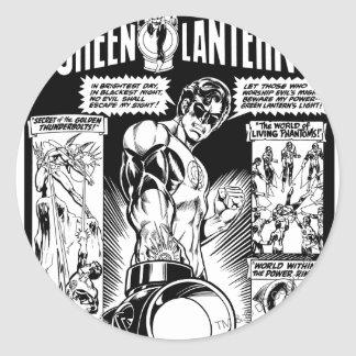 Green Lantern  - Green Shaded Comic, Black and Whi Round Sticker