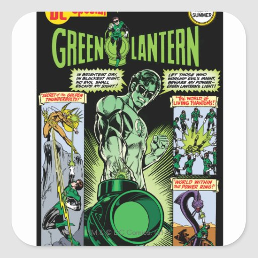 Green Lantern  - Green Shaded Comic Square Stickers