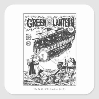 Green Lantern in the trenches, Black and White Square Sticker