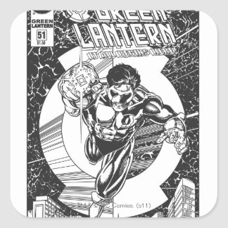 Green Lantern - It all begins here, Black and Whit Square Sticker