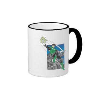 Green Lantern Lands in City Coffee Mugs