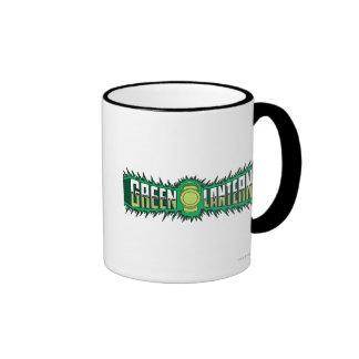 Green Lantern Logo - Green Flames Ringer Coffee Mug