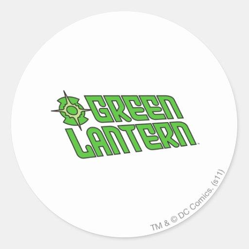Green Lantern Logo Tilted Round Stickers