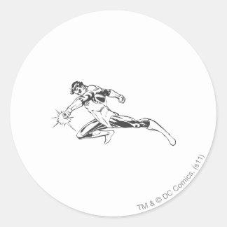 Green Lantern Lunges Down Round Sticker