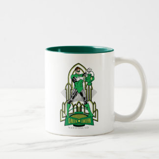 Green Lantern on decorative background Two-Tone Coffee Mug