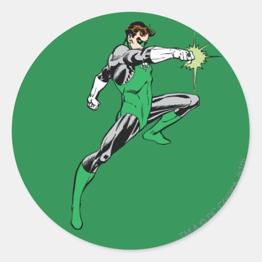 Green Lantern Pointing Ring Round Stickers