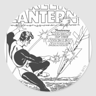 Green Lantern - Runaway Missile, Black and White Round Sticker