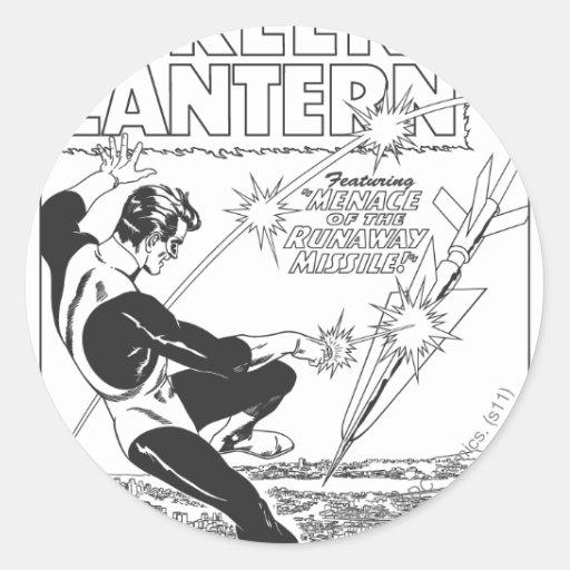 Green Lantern - Runaway Missile, Black and White Sticker