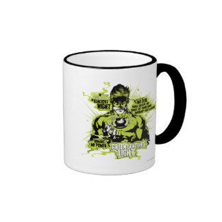 Green Lantern Text Collage - Color Coffee Mugs