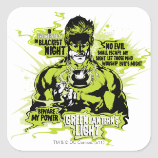 Green Lantern Text Collage - Color Square Sticker