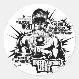 Green Lantern Text Collage Round Stickers