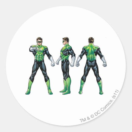 Green Lantern Three Views Round Stickers
