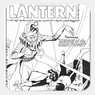 Green Lantern vs Clown, Black and White Square Sticker
