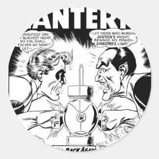 Green Lantern vs Sinestro, Black and White Round Sticker