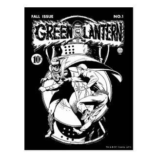 Green Lantern with cape in fight, Black and White Postcard