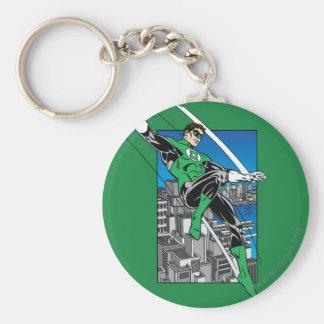 Green Lantern with City Background Basic Round Button Keychain
