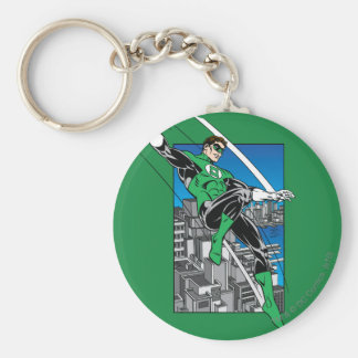 Green Lantern with City Background Keychain