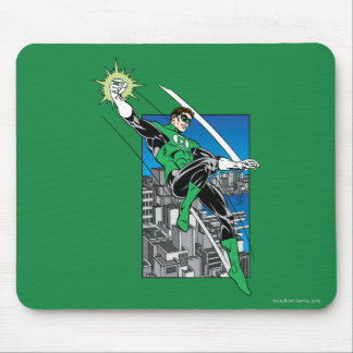 Green Lantern with City Background Mouse Pads