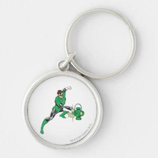 Green Lantern with Lantern 2 Silver-Colored Round Keychain