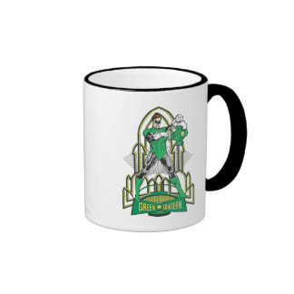 Green Lantern with Letters Ringer Coffee Mug