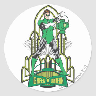 Green Lantern with Letters Round Sticker