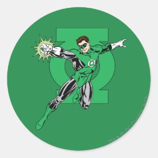 Green Lantern with Logo Background Classic Round Sticker