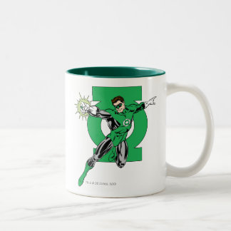 Green Lantern with Logo Background Two-Tone Coffee Mug