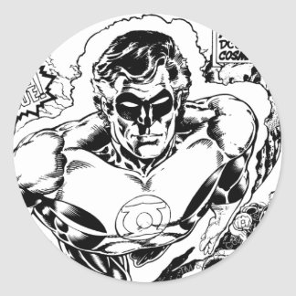 Green Lanterns Flying, Black and White Round Sticker