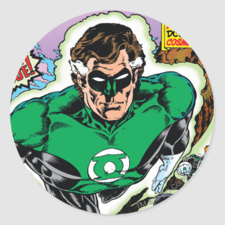 Green Lanterns Flying Round Sticker