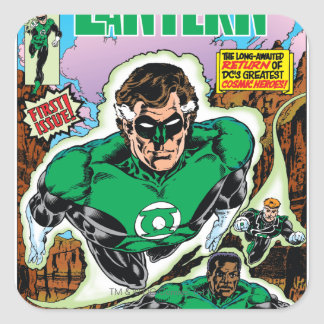 Green Lanterns Flying Square Stickers