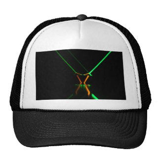 green laser beam reflection trucker hat