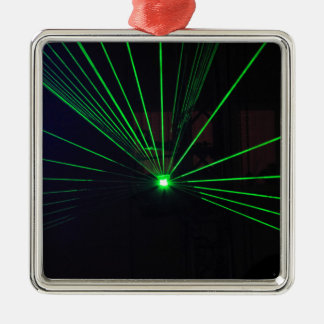 Green Laser Show Metal Ornament